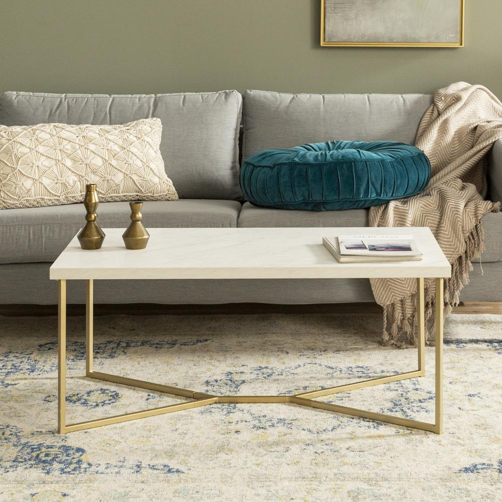 """Coffee Table Legs Gold: 42""""Faux Marble Y-Leg Coffee Table"""
