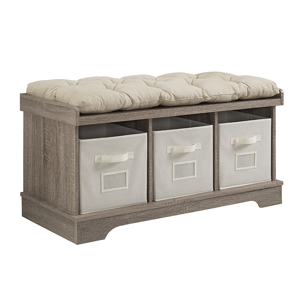 42 wood storage bench with totes and cushion driftwood Storage bench with cushion