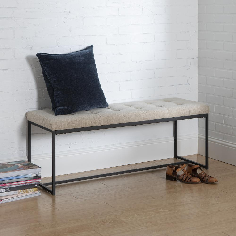 48 Quot Upholstered Bench With Metal Base Tan