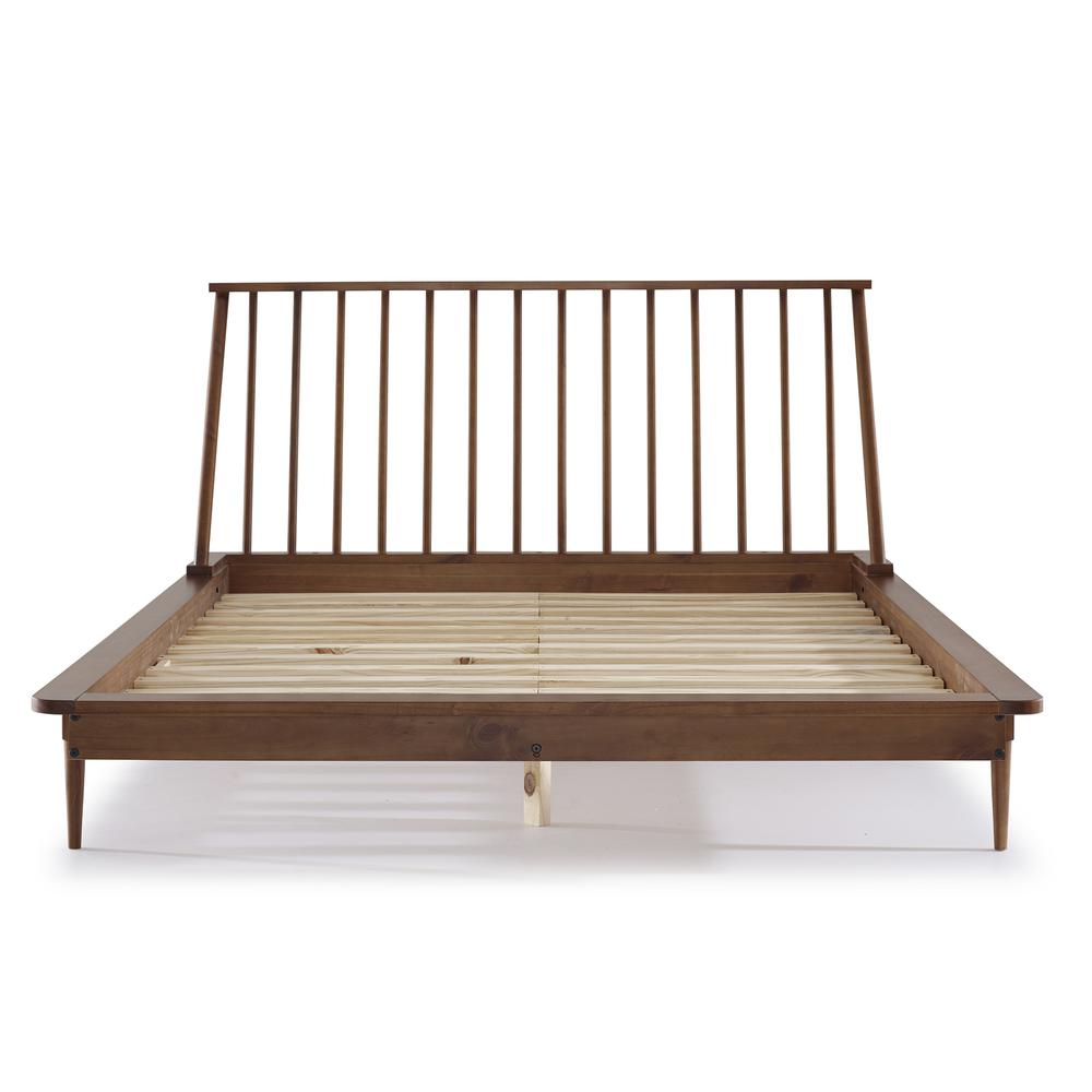 Modern Wood Queen Spindle Bed - Caramel. Picture 1