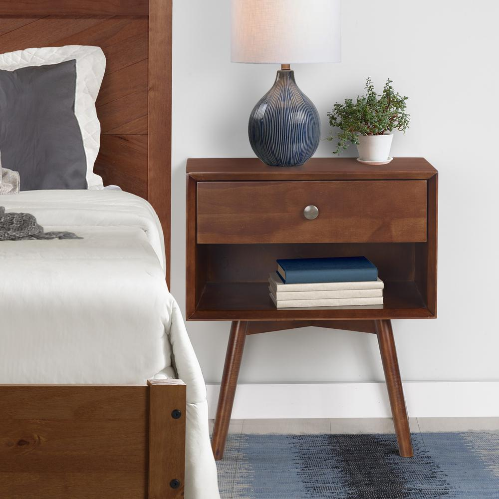 MCM 1 Drawer Solid Wood Nightstand - Walnut. Picture 2