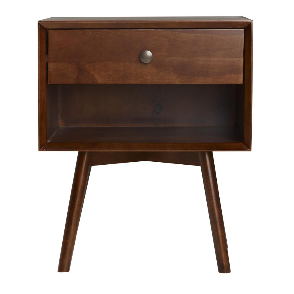 MCM 1 Drawer Solid Wood Nightstand - Walnut. Picture 1