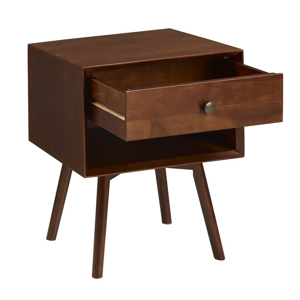 MCM 1 Drawer Solid Wood Nightstand - Walnut. Picture 3