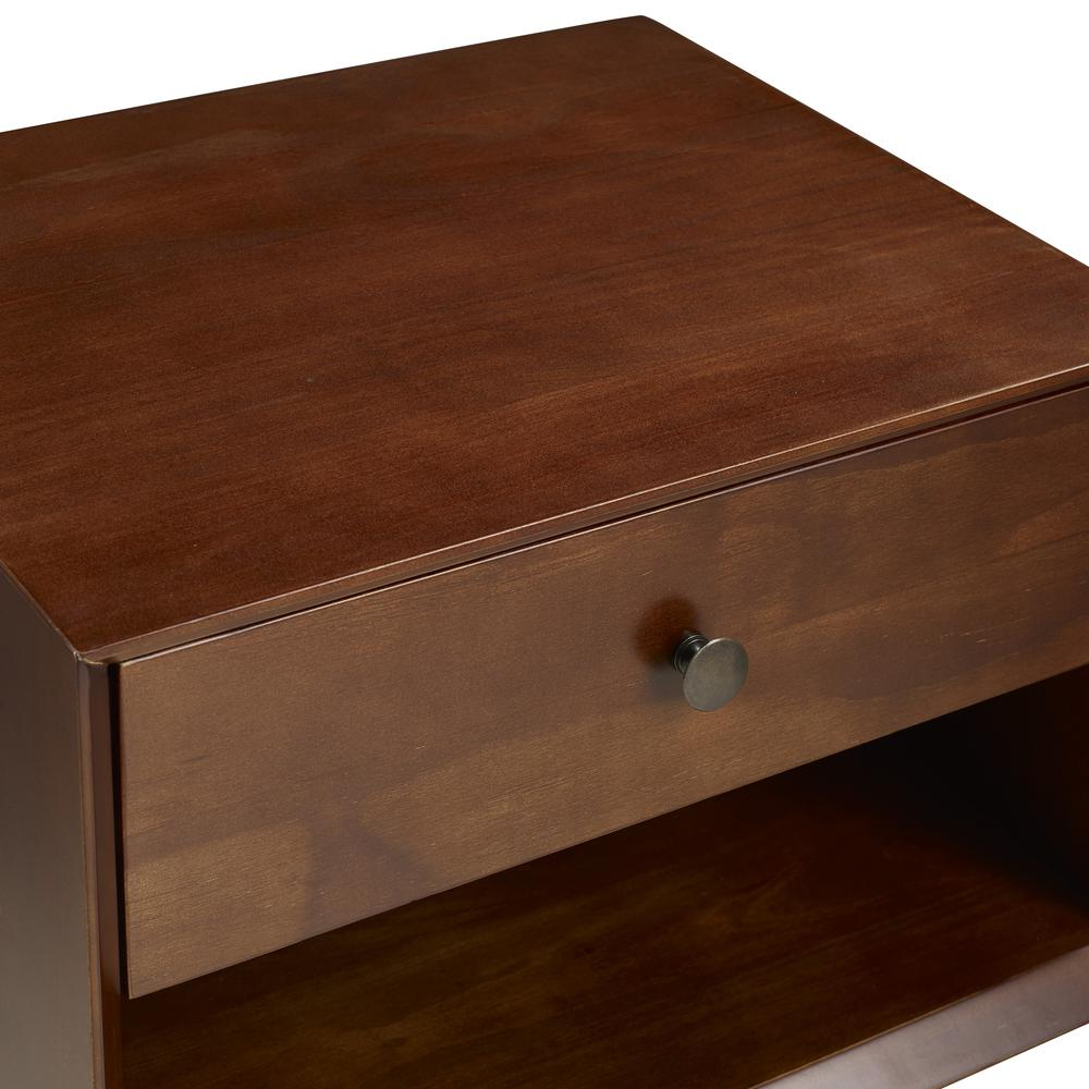 MCM 1 Drawer Solid Wood Nightstand - Walnut. Picture 4