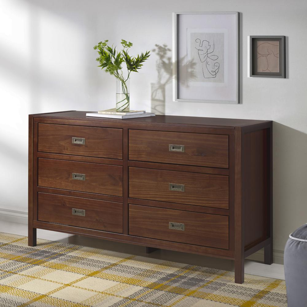 """57"""" Classic Solid Wood 6-Drawer Dresser - Walnut. Picture 2"""