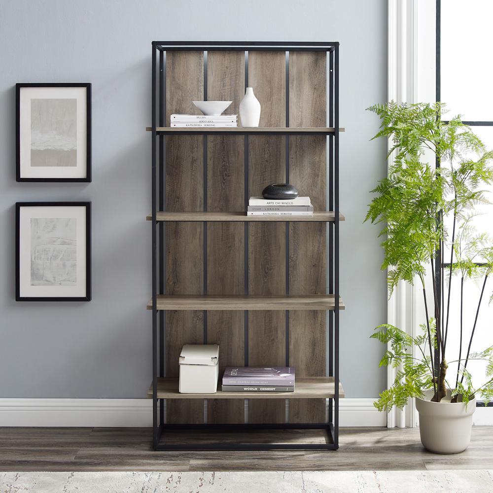 """64"""" Modern Farmhouse Wood Bookshelf - Grey Wash/Black"""