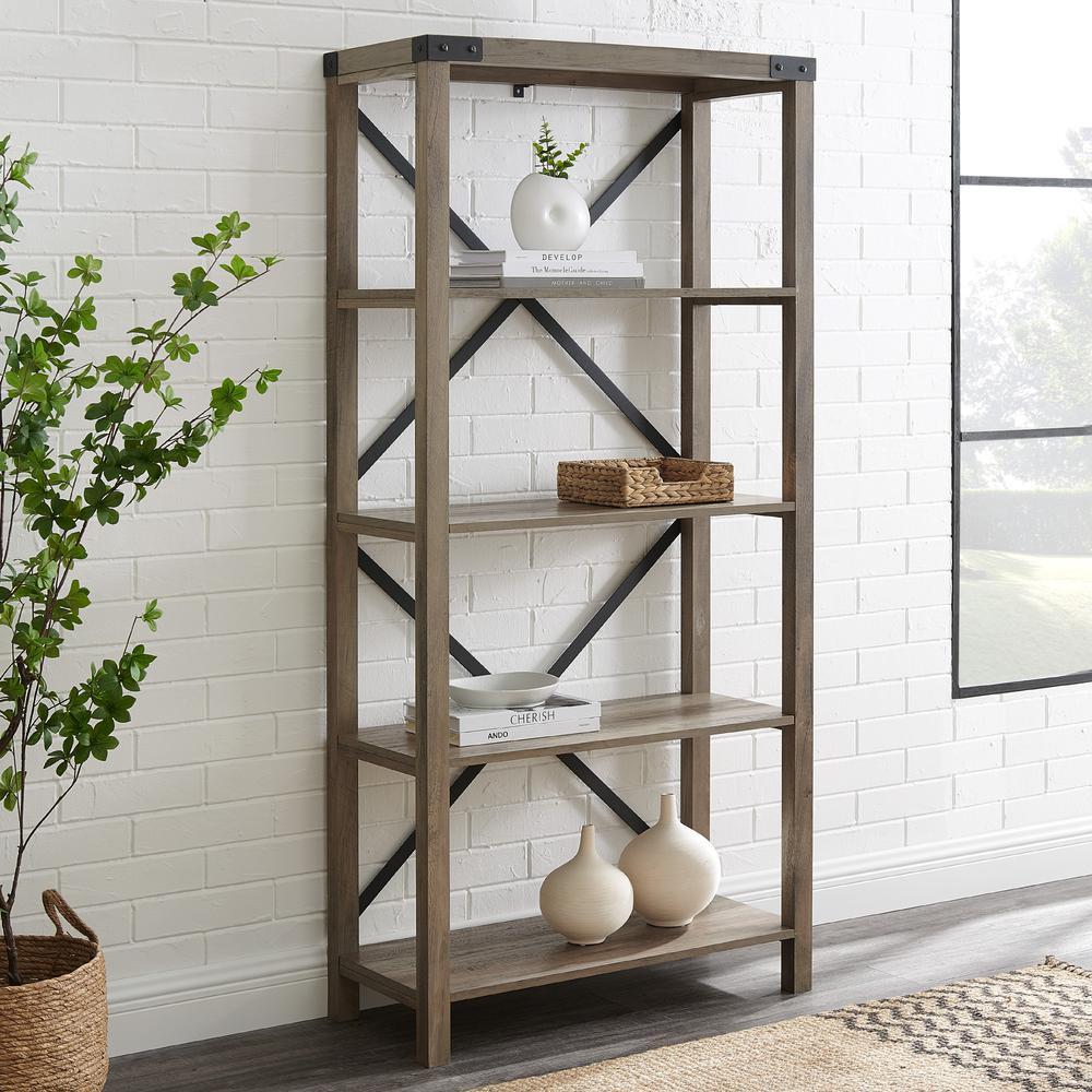 64 Quot Wood Farmhouse Metal X Frame Bookcase Grey Wash