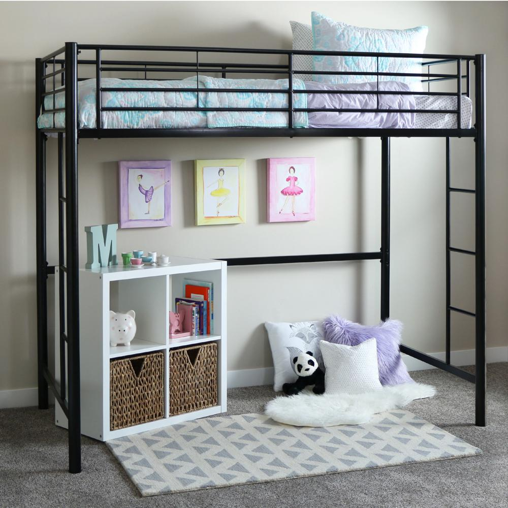 Twin Metal Loft Bed - Black. Picture 2