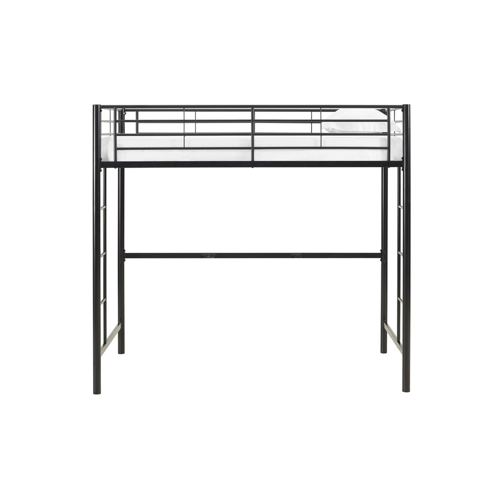 Twin Metal Loft Bed - Black. Picture 1