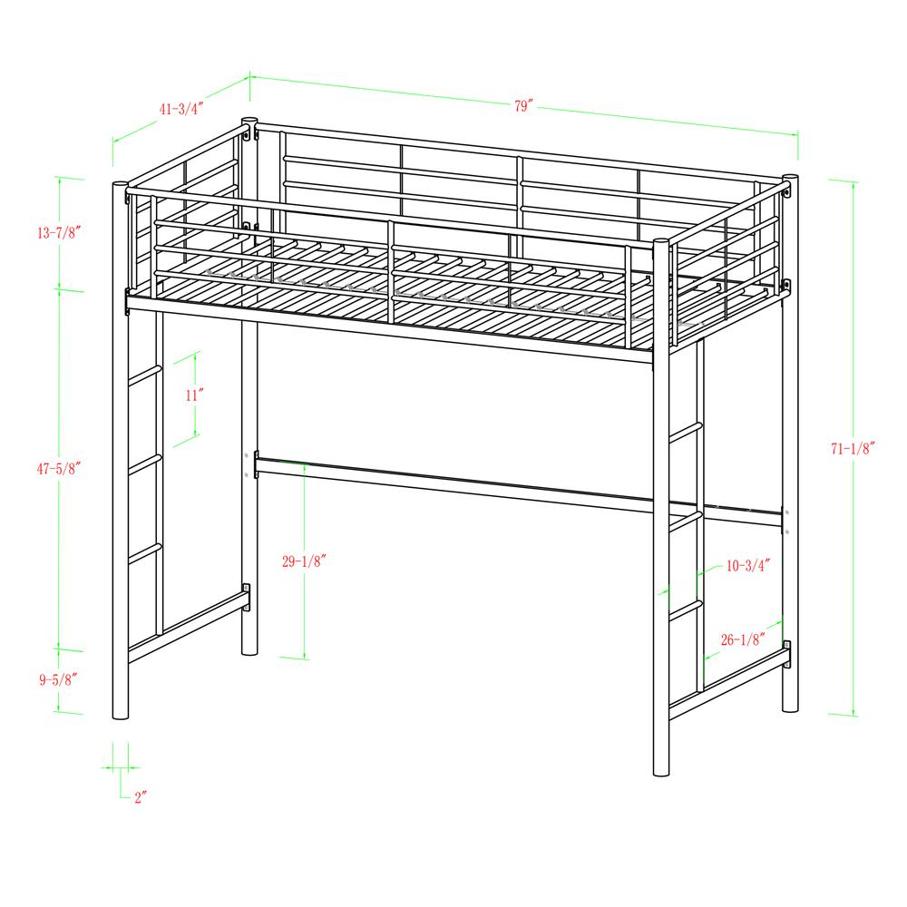Twin Metal Loft Bed - Black. Picture 6