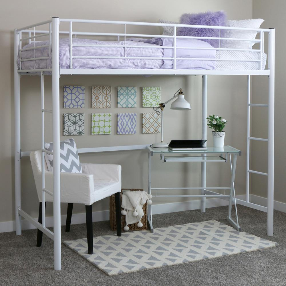 Twin Metal Loft Bed - White. Picture 2