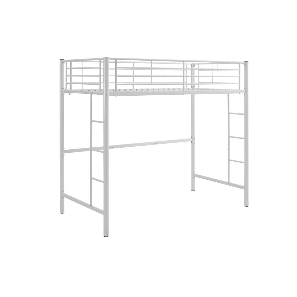 Twin Metal Loft Bed - White. Picture 1