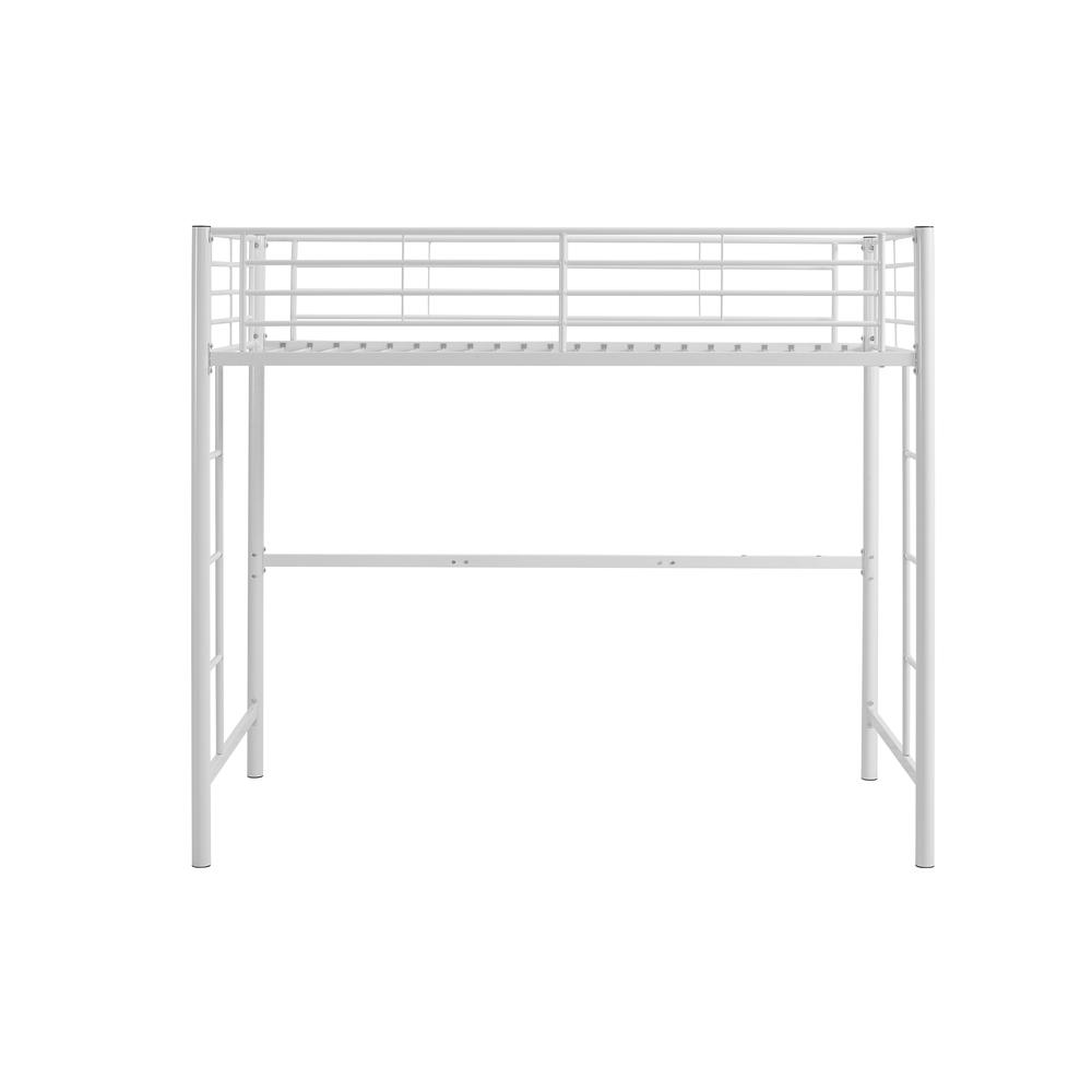 Twin Metal Loft Bed - White. Picture 3