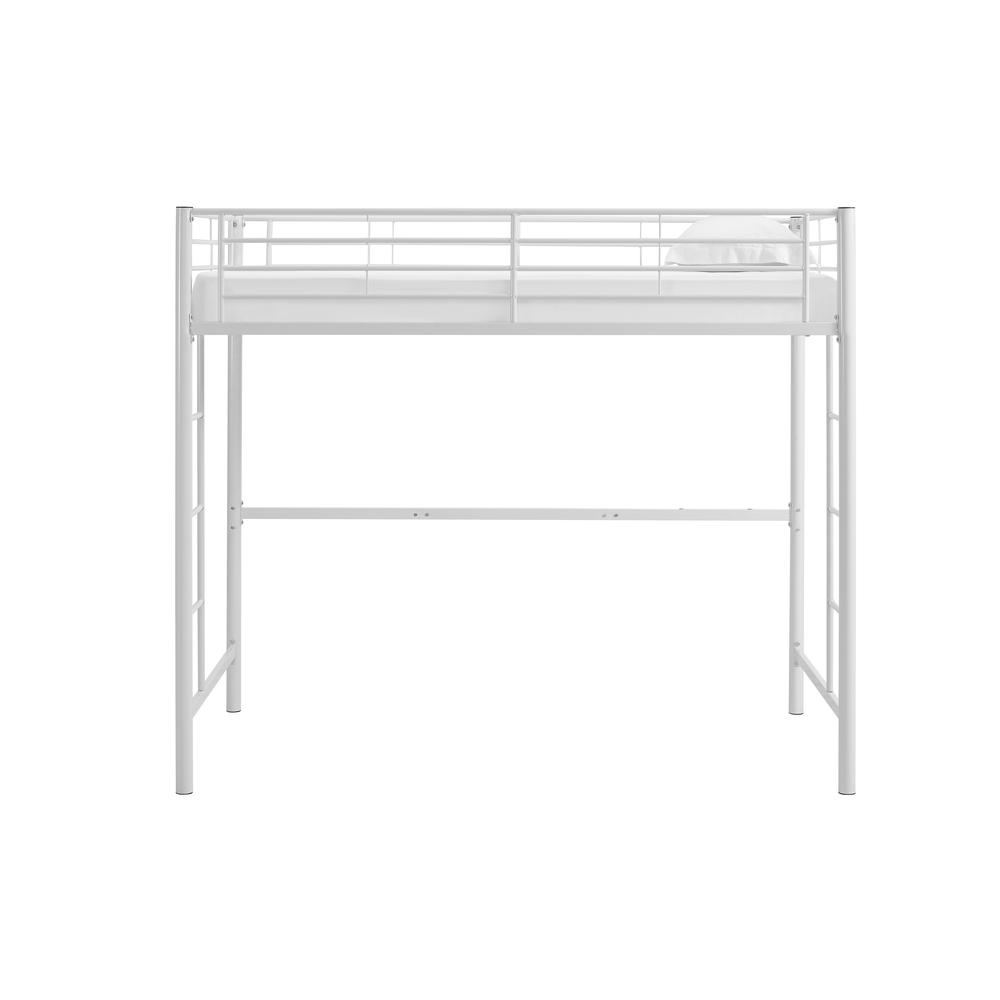 Twin Metal Loft Bed - White. Picture 4