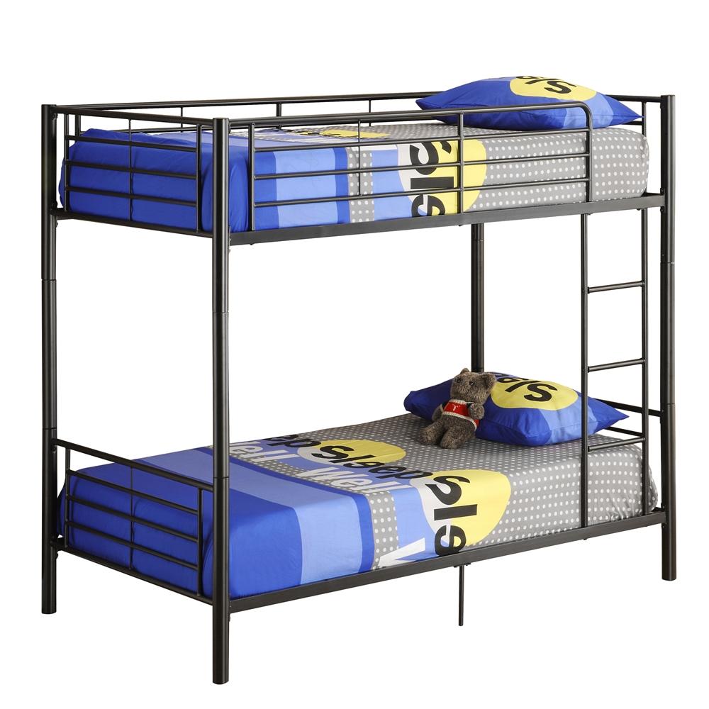Twin Metal Bunk Bed Black