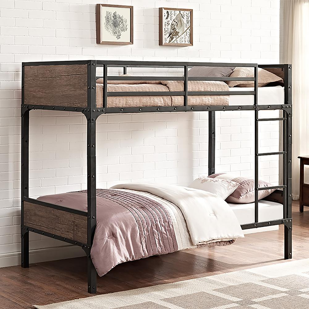 Twin Over Twin Rustic Wood Bunk Bed Brown