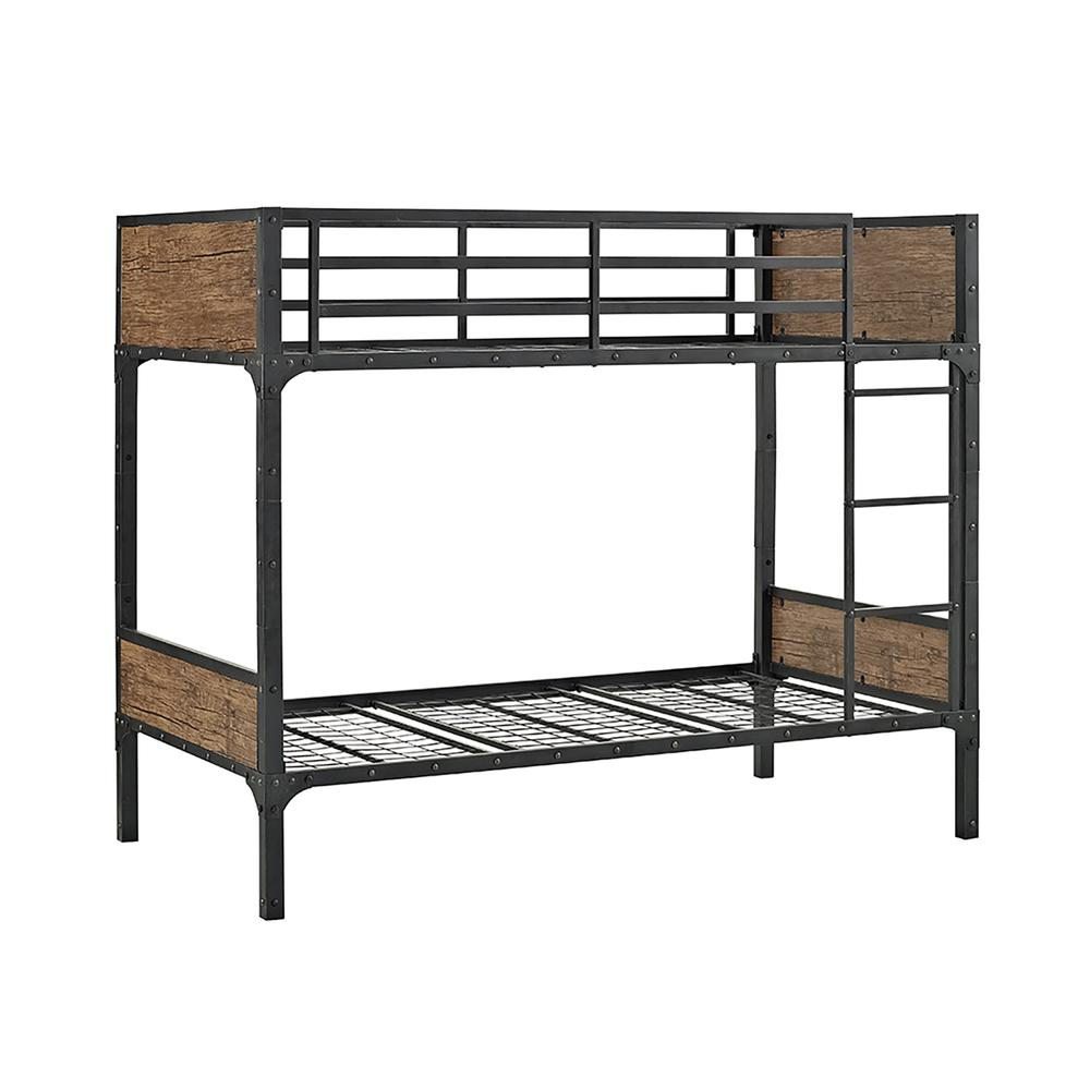 Twin over Twin Rustic Wood Bunk Bed - Brown. Picture 4
