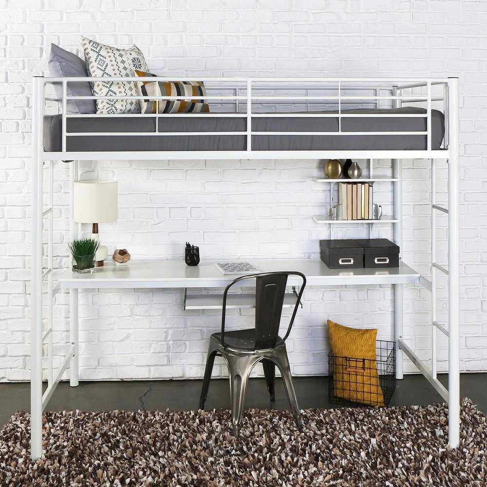 Twin Metal Loft Bed with Workstation- White. Picture 3