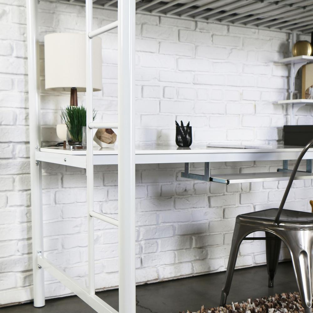 Twin Metal Loft Bed with Workstation- White. Picture 2