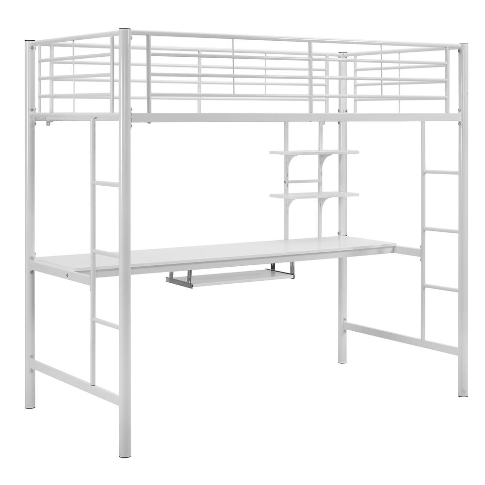 Twin Metal Loft Bed with Workstation- White. Picture 1