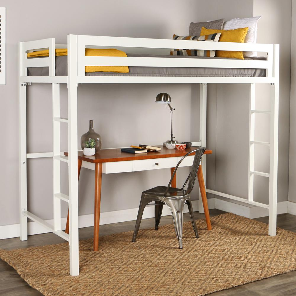 Bentley Twin Metal Loft Bed - White. Picture 2