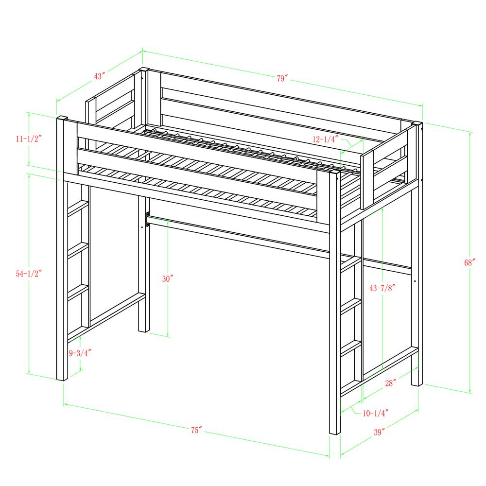 Bentley Twin Metal Loft Bed - White. Picture 4