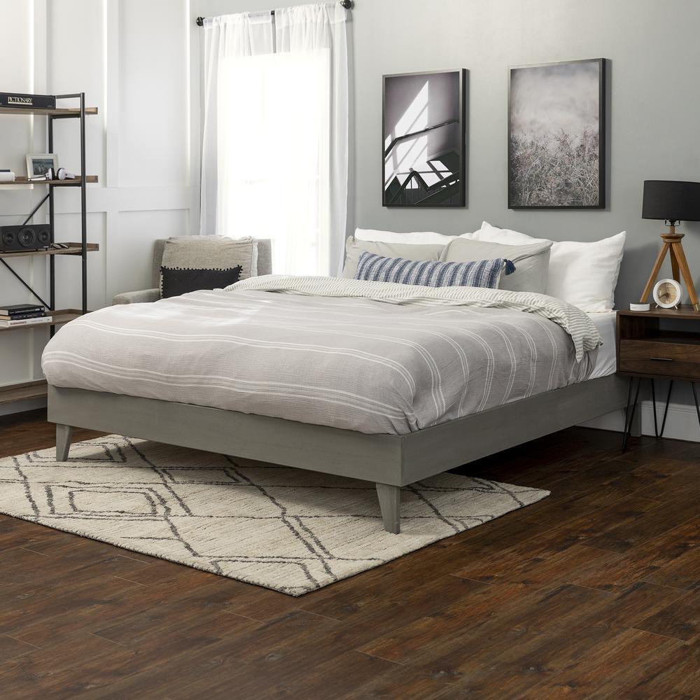 Solid Wood King Platform Bed - Grey Brush. Picture 2