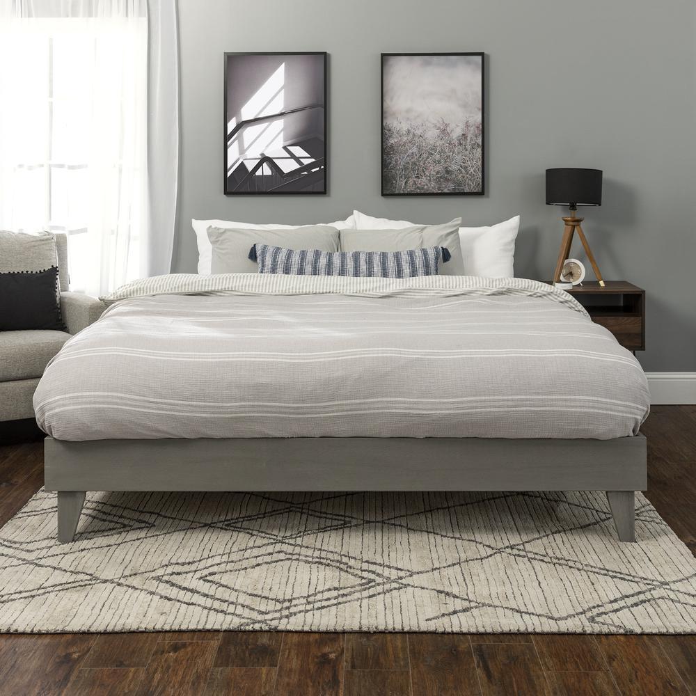 Solid Wood King Platform Bed - Grey Brush. Picture 3