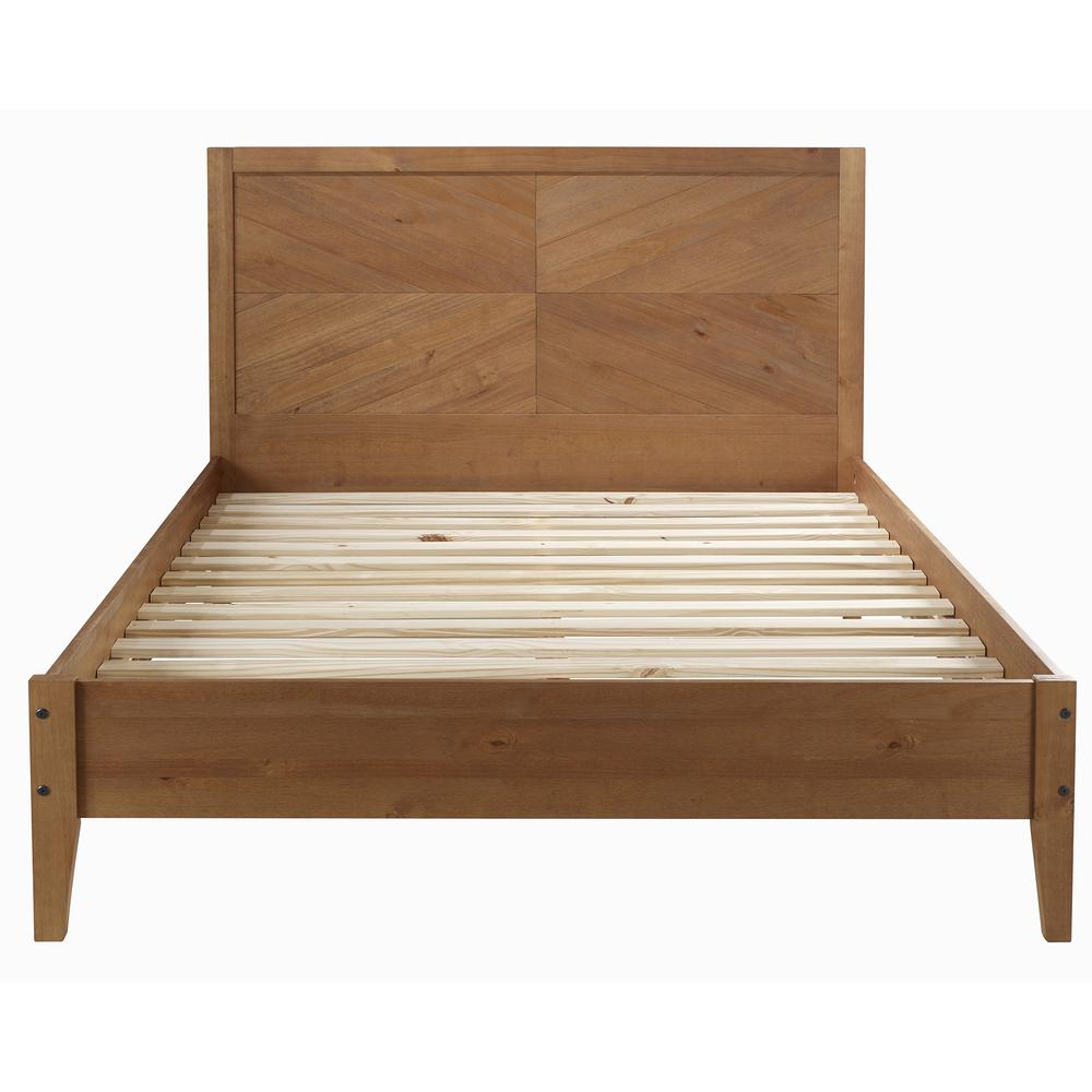 Solid Pine Wood Queen Chevron Bed - Caramel. Picture 3