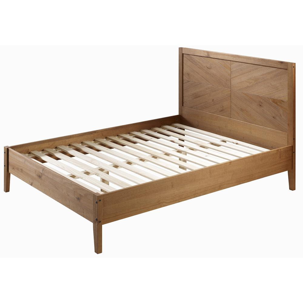 Solid Pine Wood Queen Chevron Bed - Caramel. Picture 4
