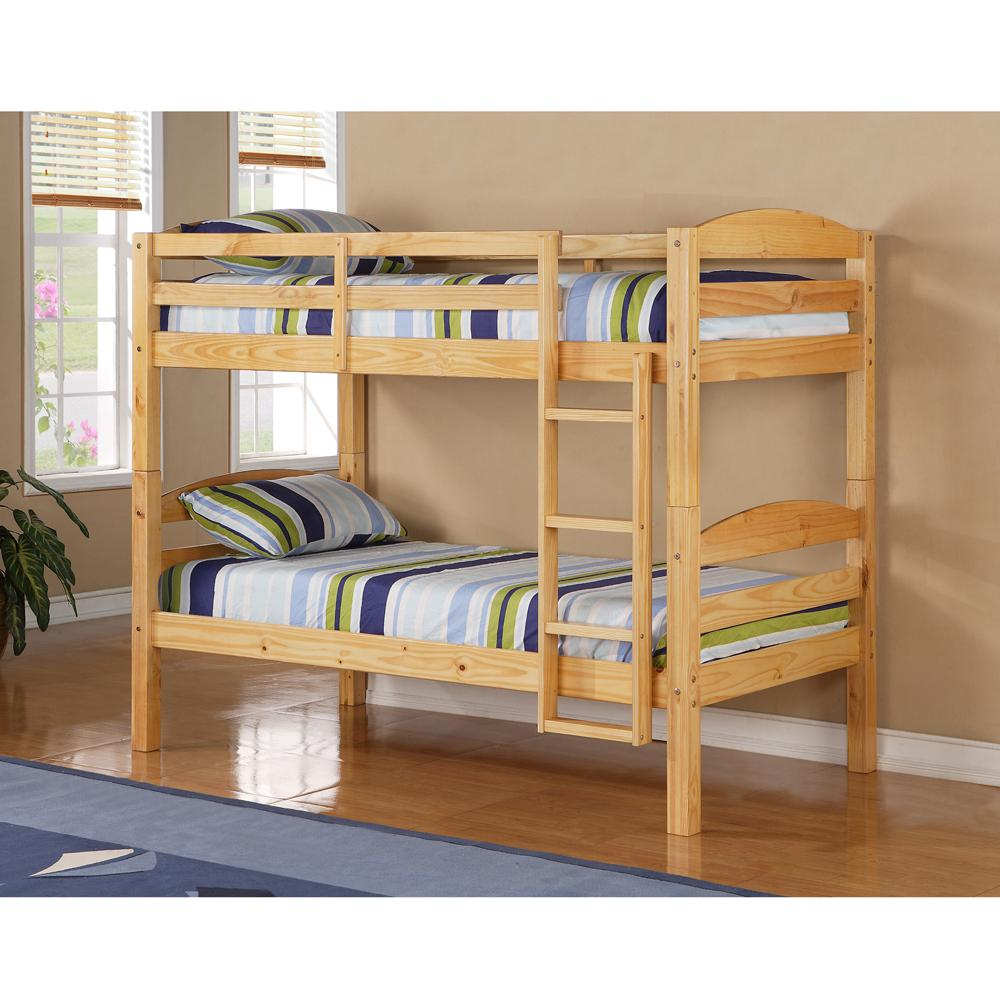 Twin Solid Wood Bunk Bed - Natural. Picture 2