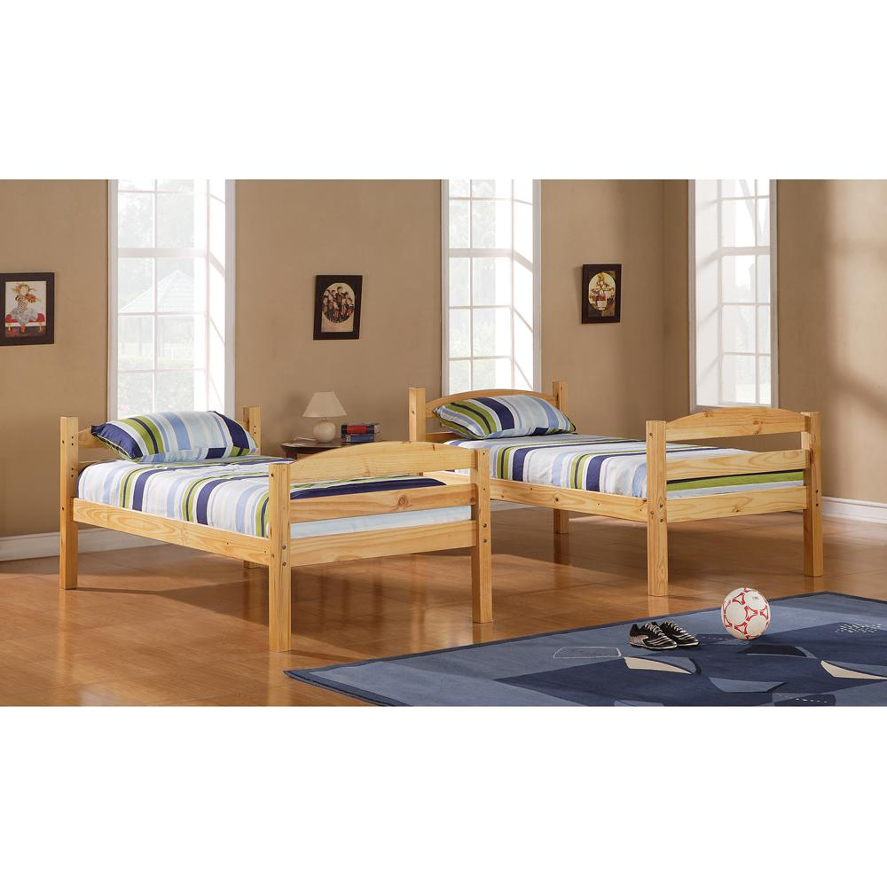 Twin Solid Wood Bunk Bed - Natural. Picture 1