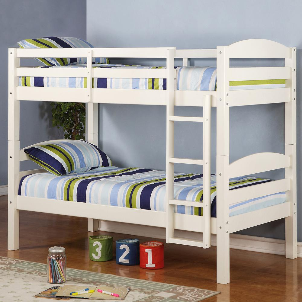 Twin Solid Wood Bunk Bed - White. Picture 2