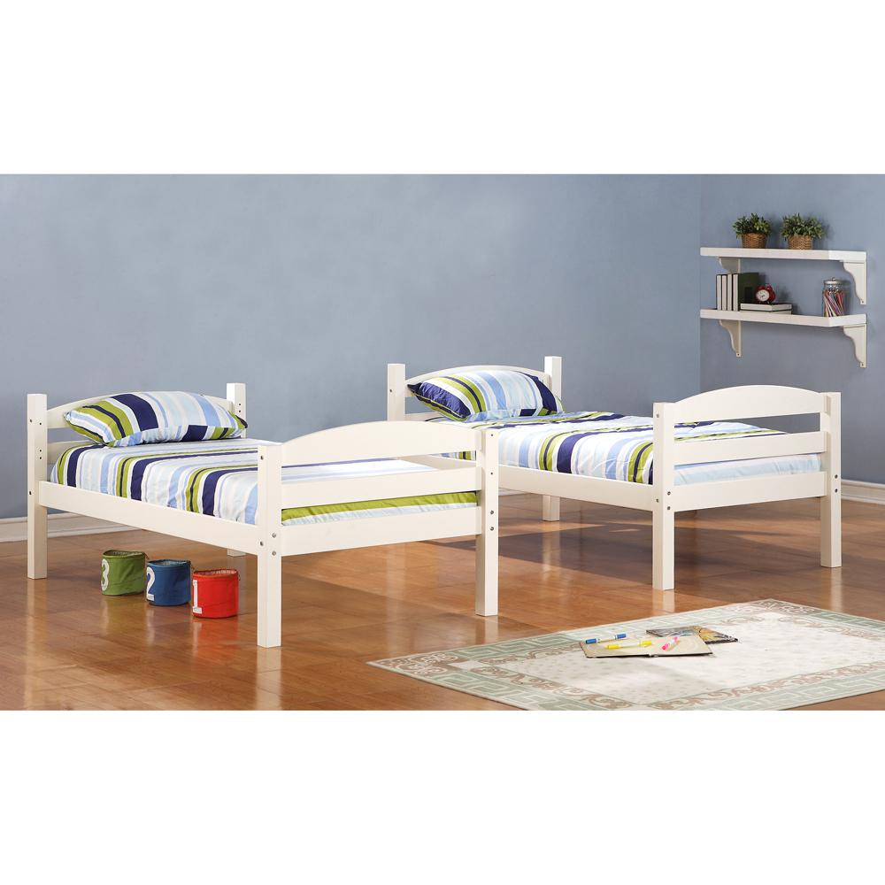 Twin Solid Wood Bunk Bed - White. Picture 1