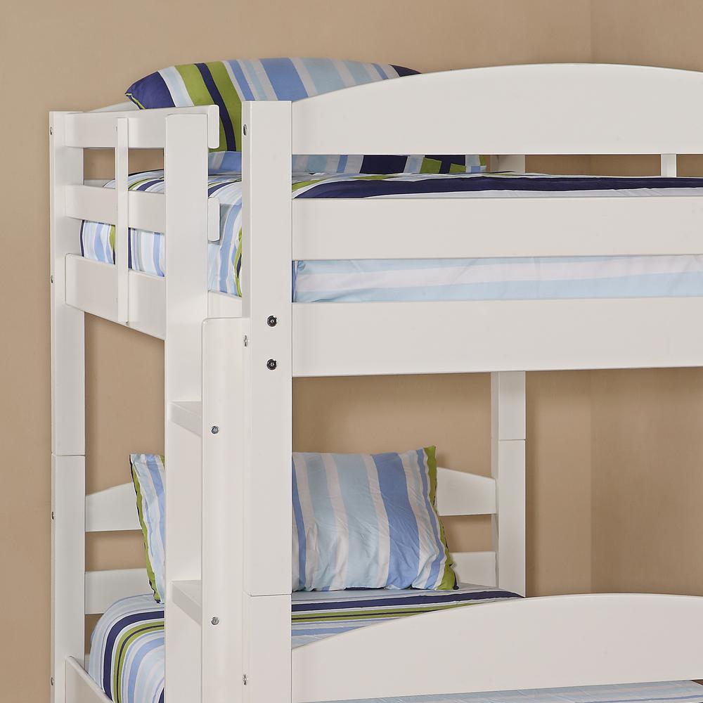 Twin Solid Wood Bunk Bed - White. Picture 3