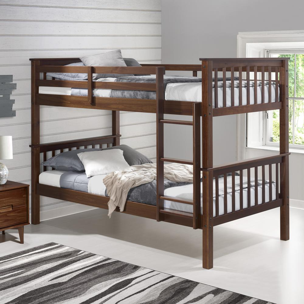Solid Wood Mission Style Twin Over Twin Bunk Bed – Walnut. Picture 4