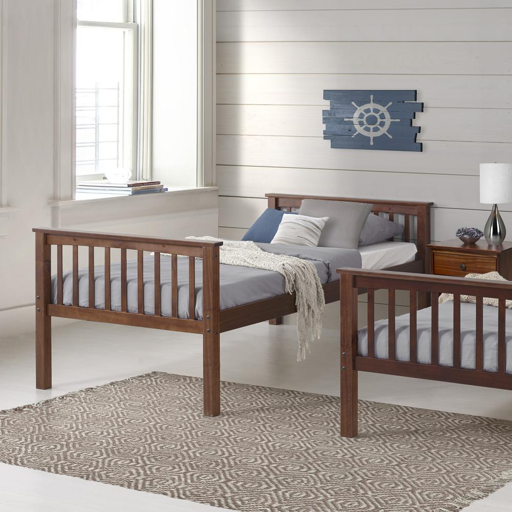 Solid Wood Mission Style Twin Over Twin Bunk Bed – Walnut. Picture 3