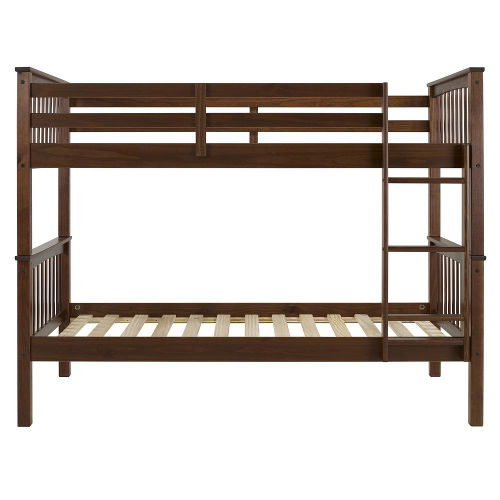Solid Wood Mission Style Twin Over Twin Bunk Bed – Walnut. Picture 1