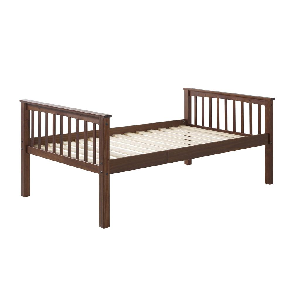 Solid Wood Mission Style Twin Over Twin Bunk Bed – Walnut. Picture 2