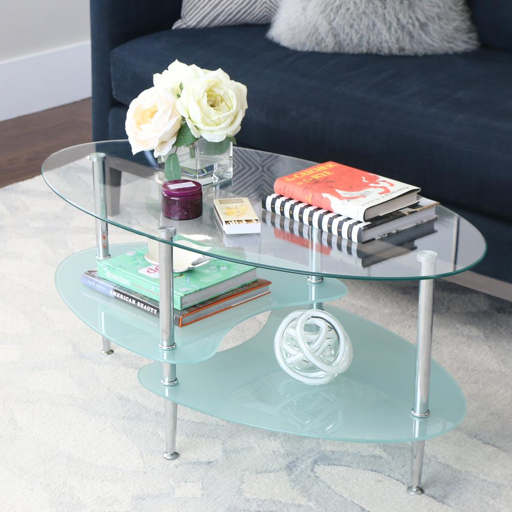 Glass Oval Coffee Table. Picture 2