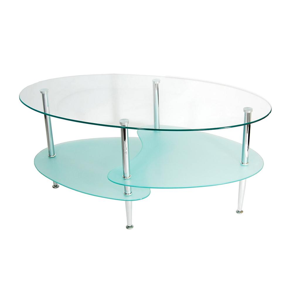 Glass Oval Coffee Table. Picture 1