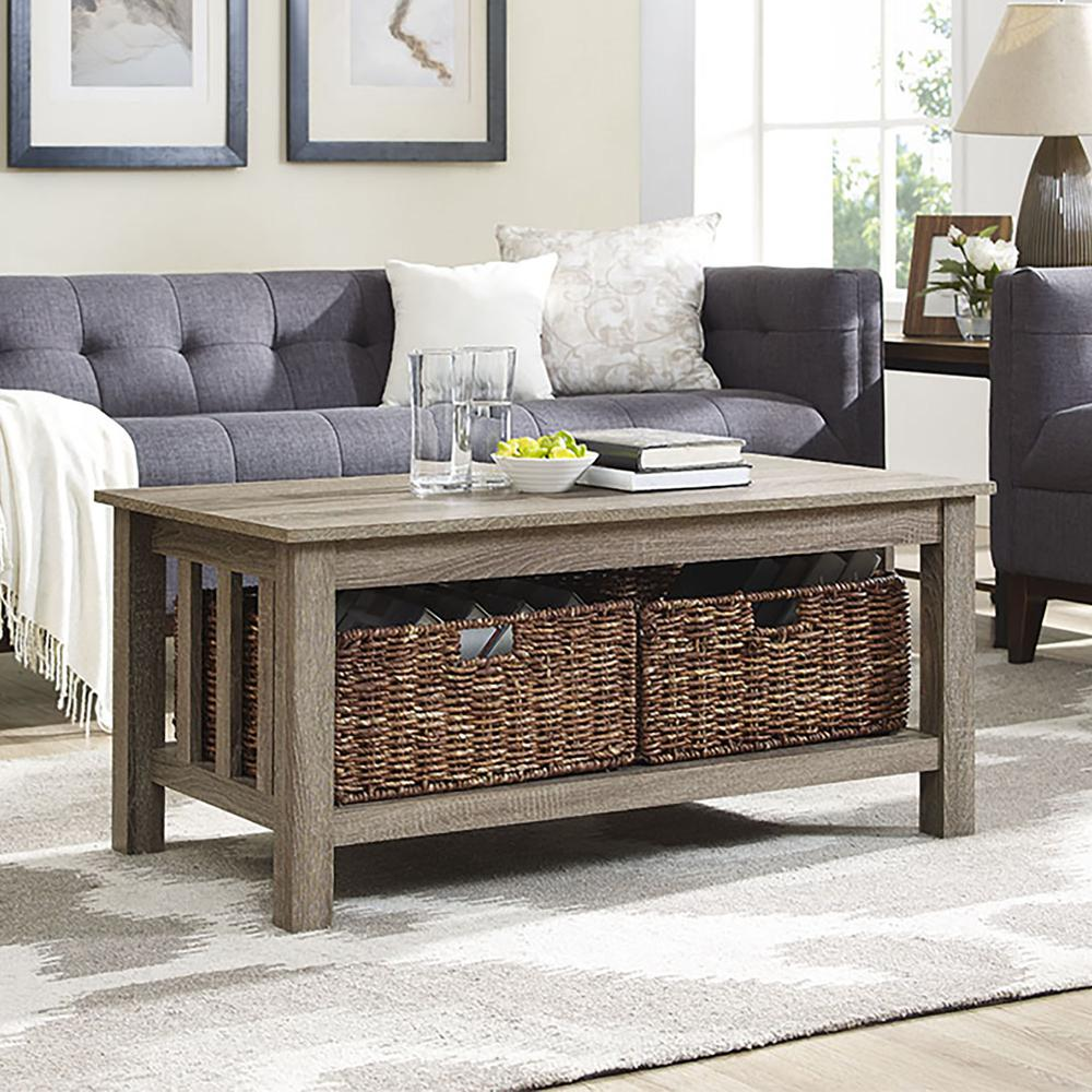 """40"""" Wood Storage Coffee Table with Totes - Driftwood. Picture 2"""