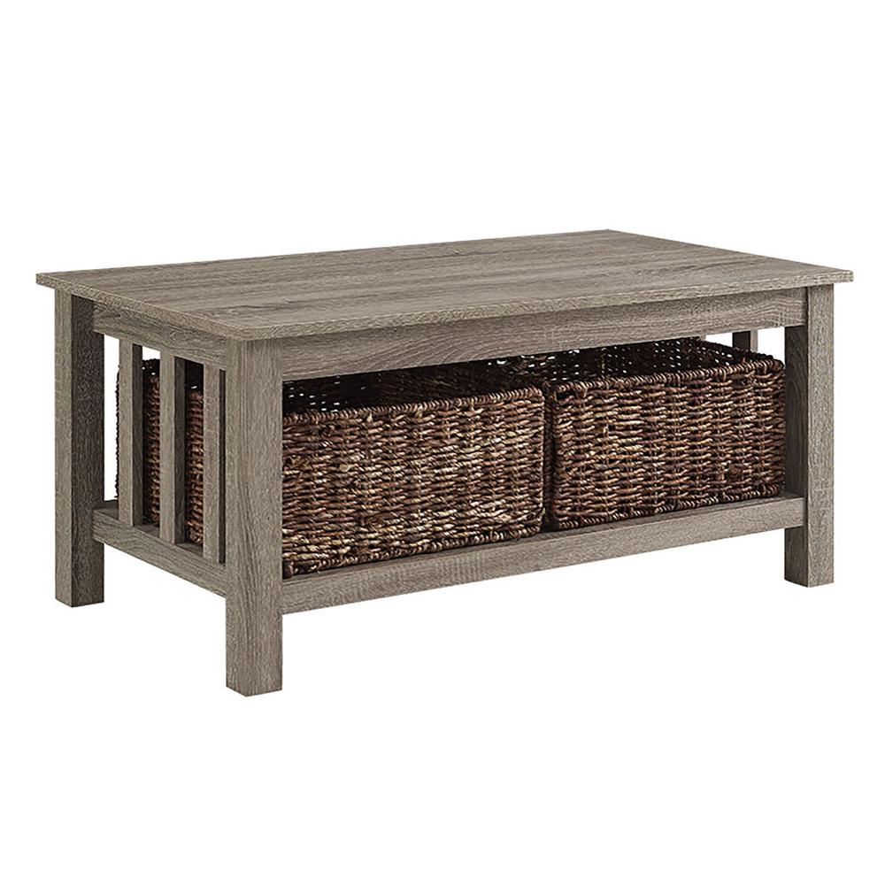 """40"""" Wood Storage Coffee Table with Totes - Driftwood. Picture 1"""
