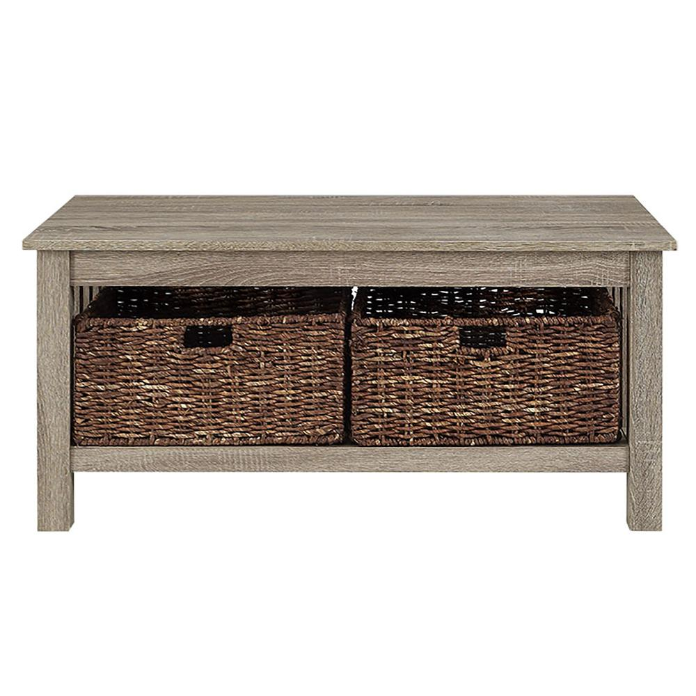 """40"""" Wood Storage Coffee Table with Totes - Driftwood. Picture 3"""