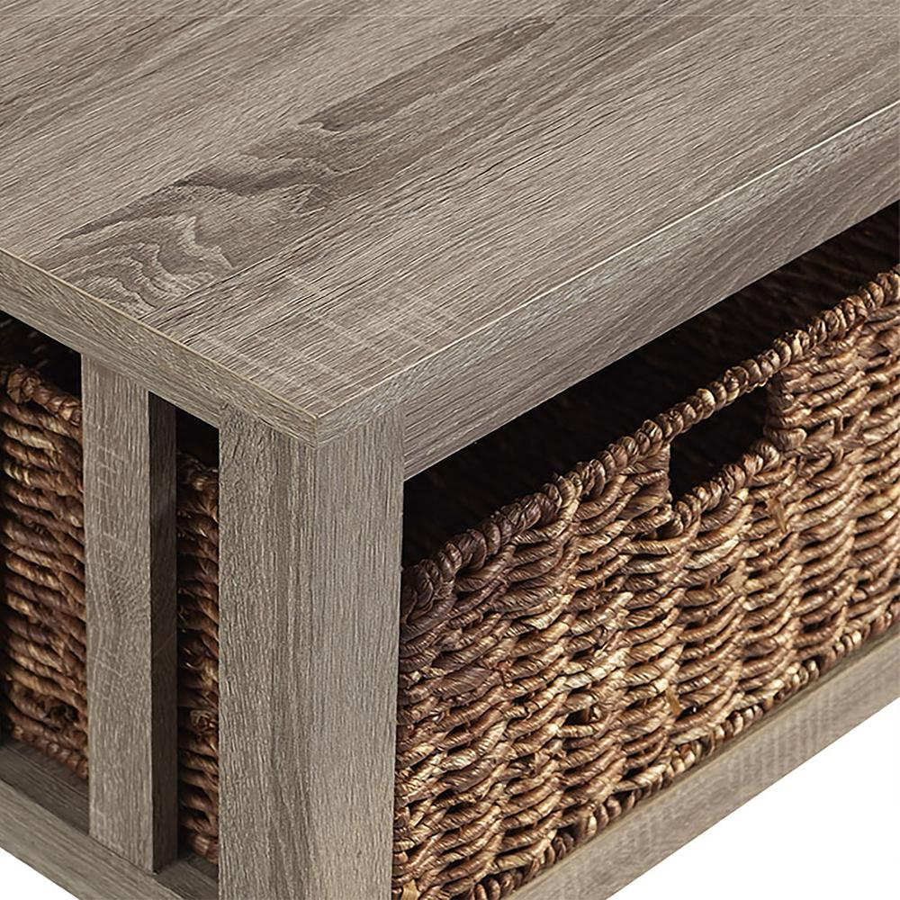"""40"""" Wood Storage Coffee Table with Totes - Driftwood. Picture 4"""