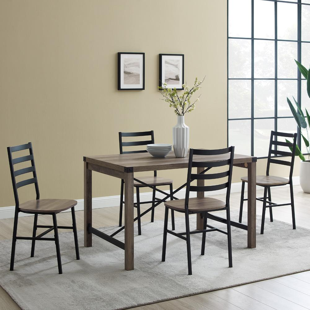 5-Piece Industrial Metal X w/Slat Back Chair Dining Set- Grey Wash. Picture 1