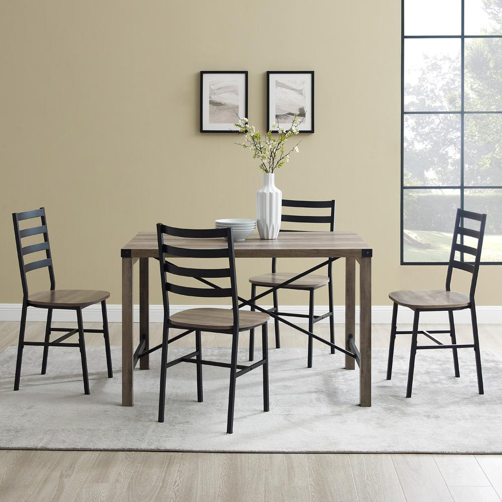 5-Piece Industrial Metal X w/Slat Back Chair Dining Set- Grey Wash. Picture 2