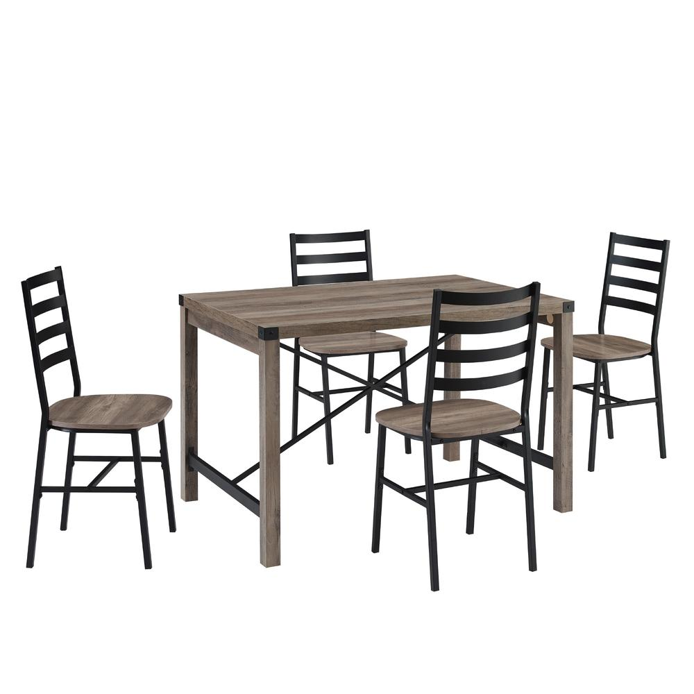 5-Piece Industrial Metal X w/Slat Back Chair Dining Set- Grey Wash. Picture 3