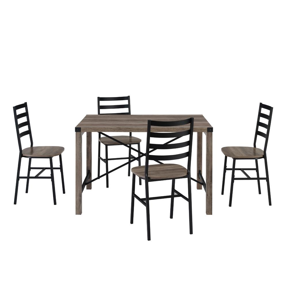 5-Piece Industrial Metal X w/Slat Back Chair Dining Set- Grey Wash. Picture 4