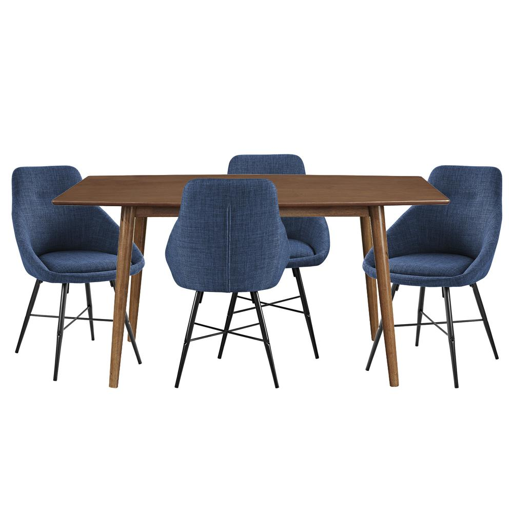 Mid Century Urban 5-Piece Dining Set - Acorn/Blue. The main picture.